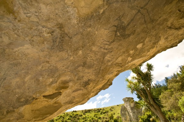 "The wedge-tailed eagle graces a cave entrance in Craigmore Valley, South Canterbury (right). Barely visible to the eye is a faint drawing of a small figure ""riding"" the eagle as one would a horse, believed to have been added to the drawing following early contact with Europeans.Because of the significance of these drawings, the landowners have put in place QEII covenants to protect the landscape and its archaeological features."
