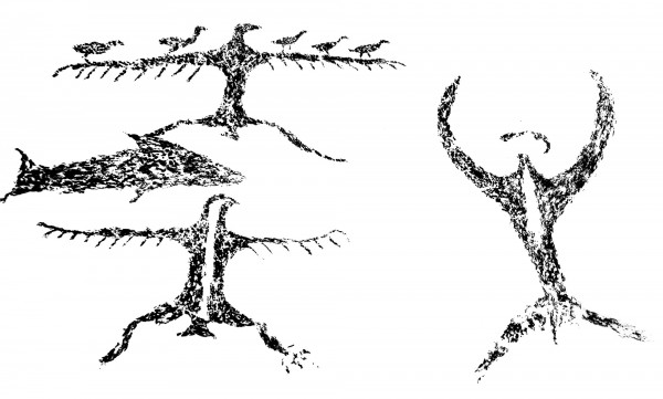The Maerewhenua rock art site near Duntroon, North Otago (opposite) reveals a remarkable collection of images done before and after contact with Europeans. Script written words, dates and a sailing ship sit in close proximity to shark-like motifs, reptiles, birds, abstract human forms and non-figurative shapes executed in black charcoal and red liquid pigment.