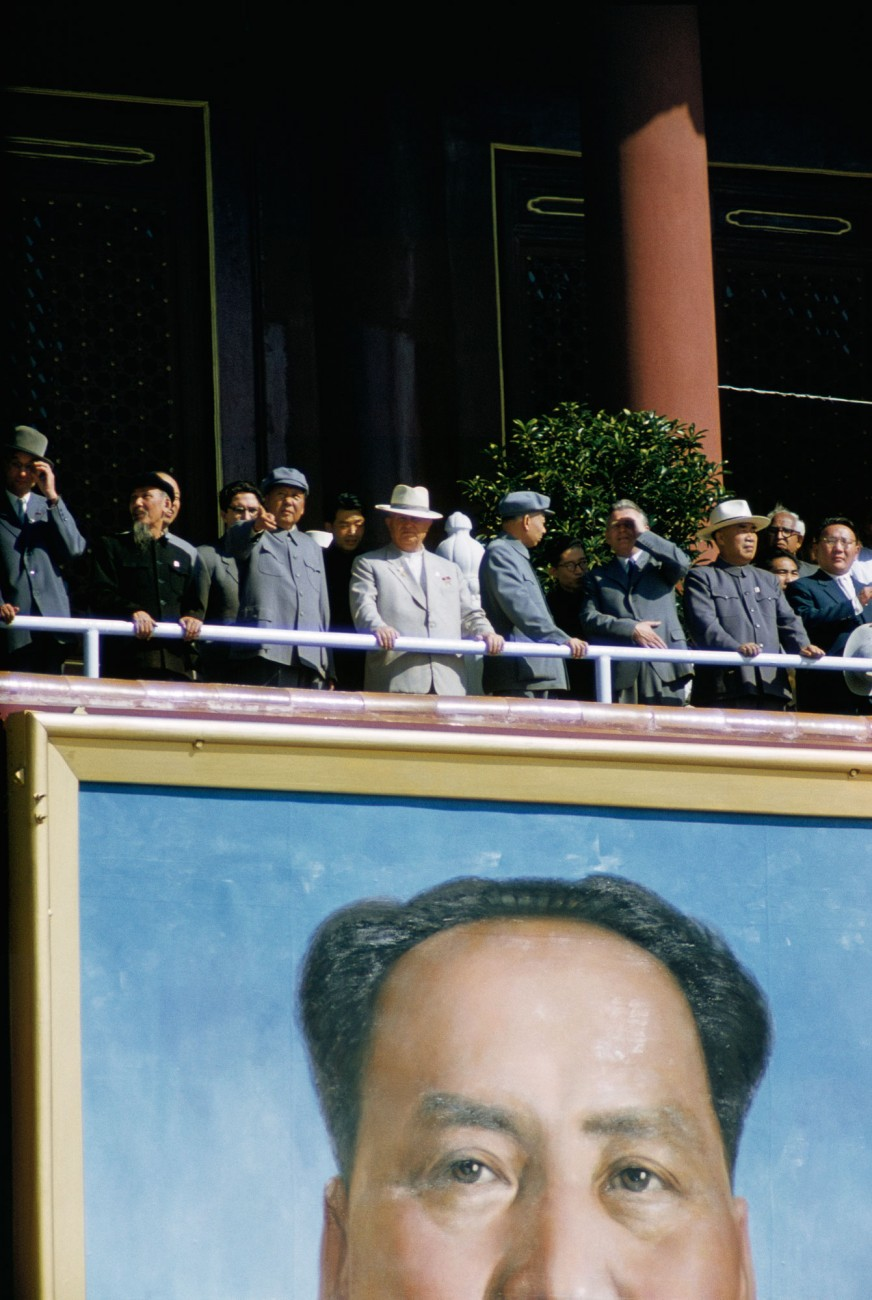Chairman Mao Zedong and foreign dignitaries view celebrations on the 10th anniversary of the People's Republic of China in Tiananmen Square, Bejing, in 1959.
