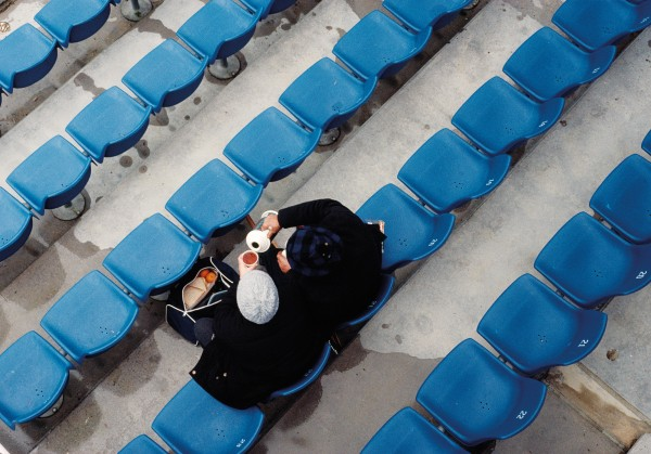 A pair of early arrivals to a Bledisloe Cup match at Eden Park in Auckland enjoy a hot brew. In the mid 90s the park, set in suburban Mt Eden, was beset with access problems, prompting seasoned spectators to pack a thermos and forget about the traffic.
