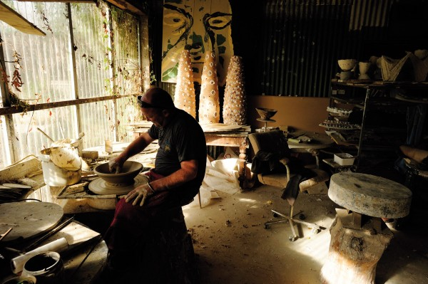 Once a crucible of creativity during the 60s and 70s, the affordable landscape around Mapua and Moutere attracted artisans and potters to set up studios and sell their wares, but rising land values and the impact of cheap imported ceramics in recent years has stymied the tide of practitioners settling in the region to only a resolute few. Potter Darryl Frost has been throwing pots on his wheel at Kina Beach since 2002, after moving from there from Canvastown.