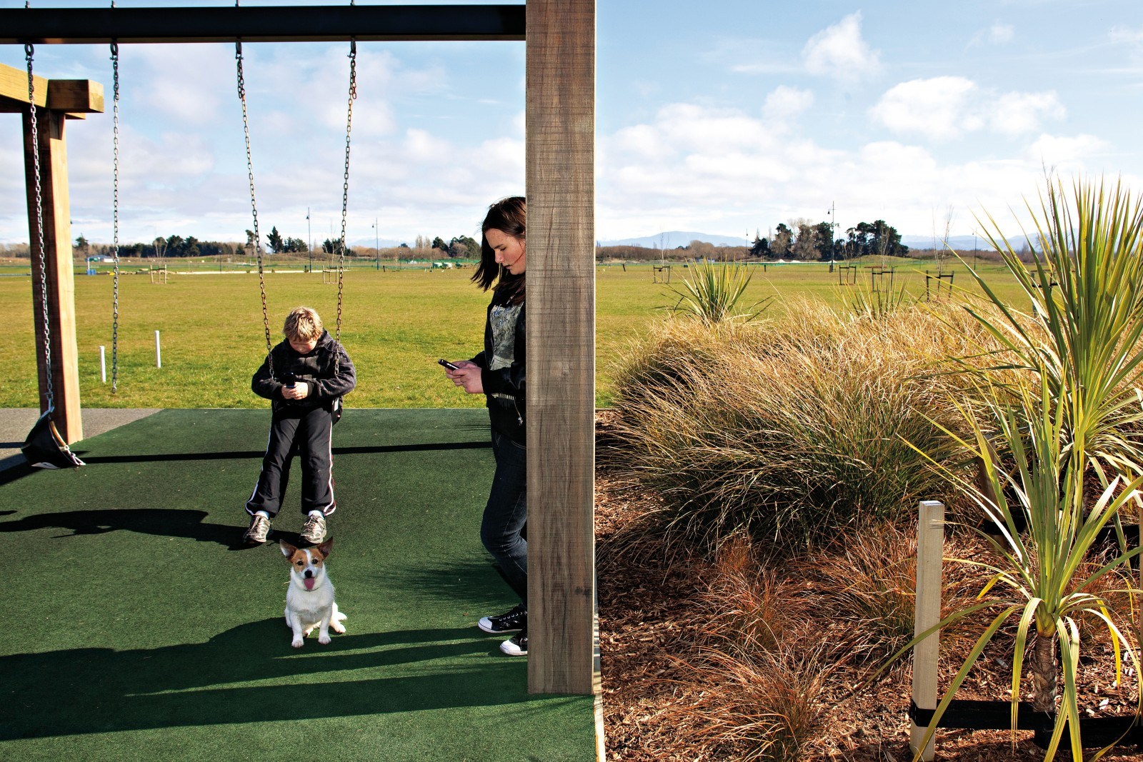 A pair of swings and a playing field serve as placeholders for a planned outdoor recreation area that will include climbing rocks, BMX tracks, a skate park and an adventure playground with a 27-metre-long slide—the country's longest. For the town's pioneer residents, however, the lag between planning and implementation can be frustrating.