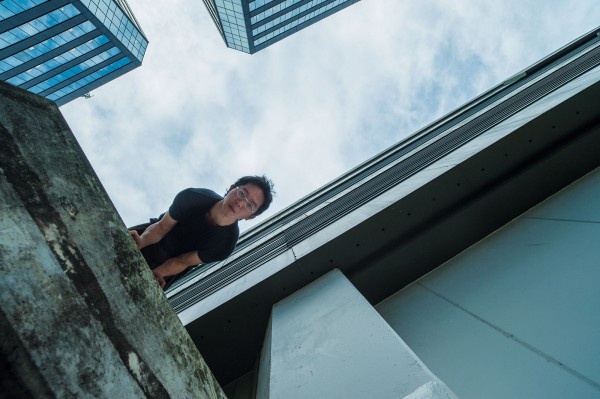 However unlike the more acrobatic discipline of free-running, parkour also includes moments of quiet strength, poise and focus, as demonstrated by John Chow, balancing on a carpark staircase in the centre of Auckland.