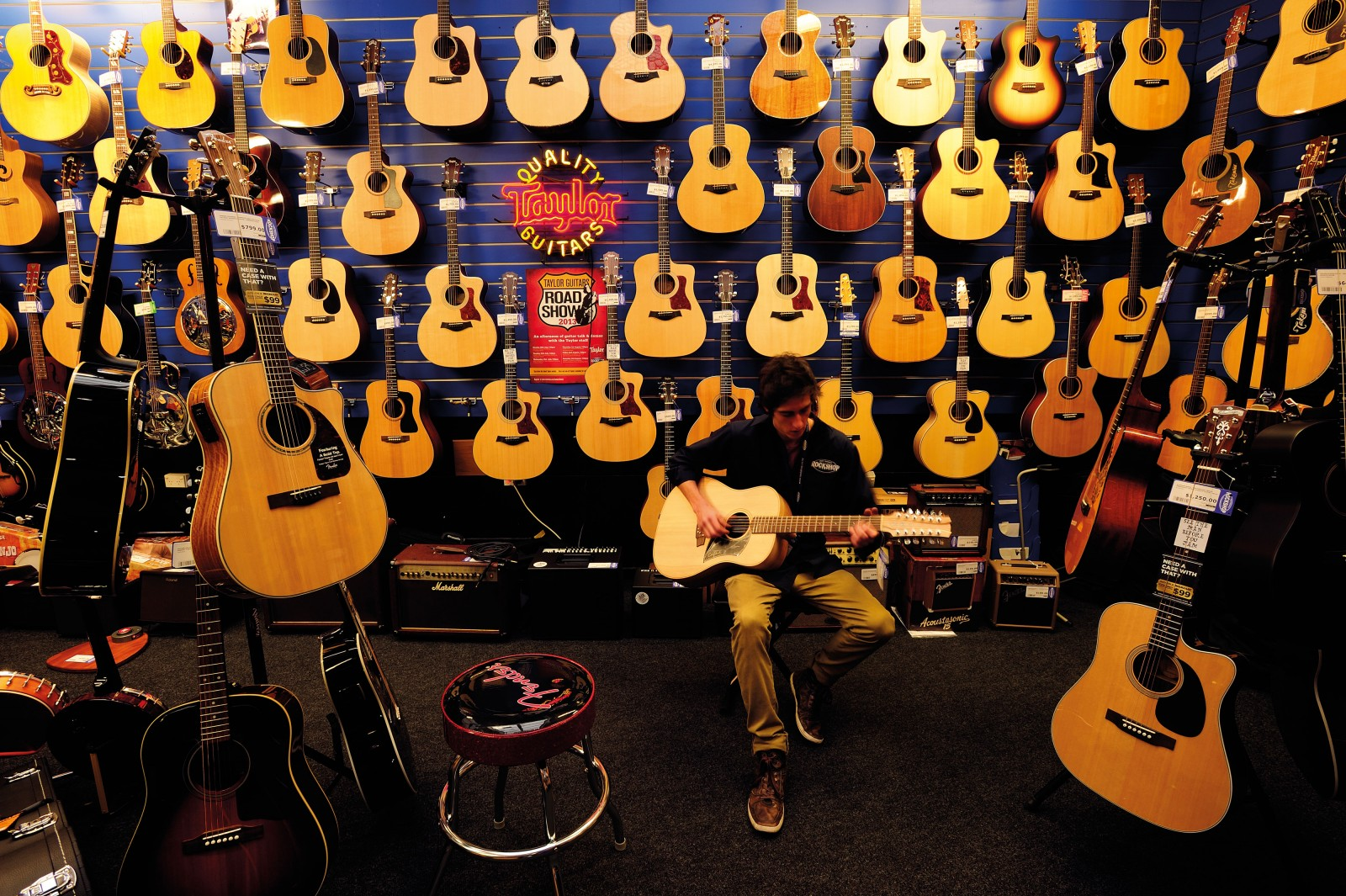 """It's the best job in the world,"" says Jasper Hamlet, tuning a Cole Clark guitar in the guitar room at the Rock Shop. The musical chain store began business in 1986 when English immigrant Mick Webb and his business partner Paul Skipper took over a rundown store on Karangahape Road. Today the Rockshop has 22 stores nationwide employing around 200 staff."