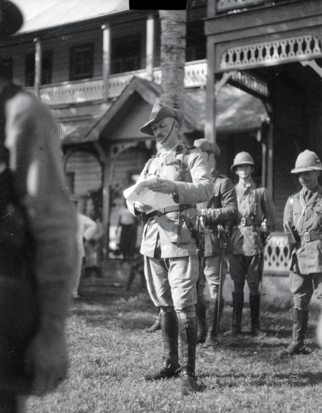 Colonel Robert Logan reads a proclamation of occupation at the court house in Apia on August 29, 1914, and the Union Jack is raised. New Zealand assumed responsibility for the administration of Samoa on behalf of Britain, a benign introduction to its participation in World War I which would ultimately claim 18,000 of its citizens.