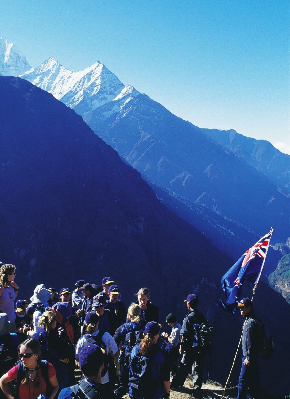 Others, including teenagers in the regular Youth To Everest programme, here showing the Kiwi flag high in the Himalayas, have now taken up the cause.