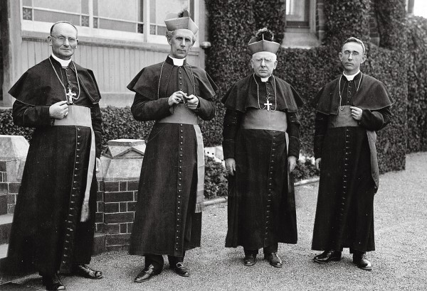 Four princes of the Australasian Church who did not always see eye to eye are (from right): Bishops James Liston (Auckland), John McCarthy (Sandhurst, Victoria), Daniel Mannix (Melbourne) and Henry Cleary (Auckland).