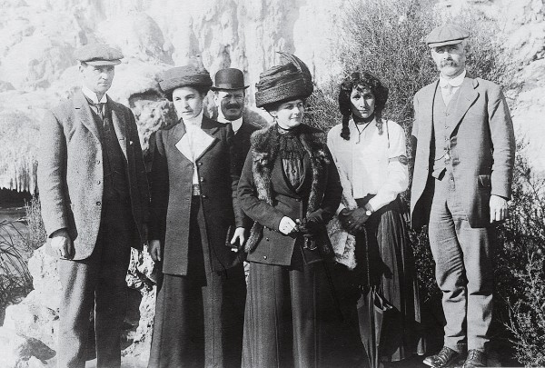 Offi cial duties took Ell (above, far left), his wife, Ada (third from right) and companions to the country's premier tourist hotspot, Whakarewarewa, in about 1912. During his political career, Ell rose as high as Postmaster General in Thomas Mackenzie's cabinet.