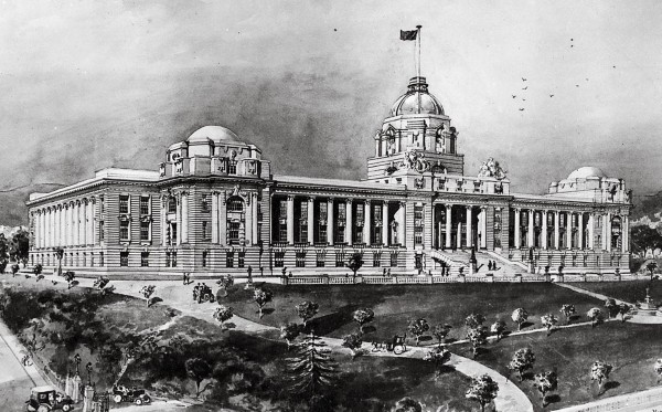 The building's original design—never realised—is shown in an artist's rendering.