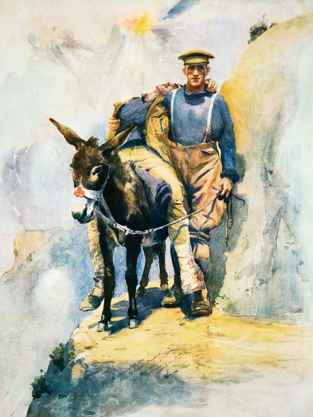 As a model for his iconic painting of Australian war hero John Simpson, New Zealand sapper Horace Moore-Jones used a photograph of Waikato donkey man Richard Henderson, taken by New Zealand stretcher-bearer James Jackson.