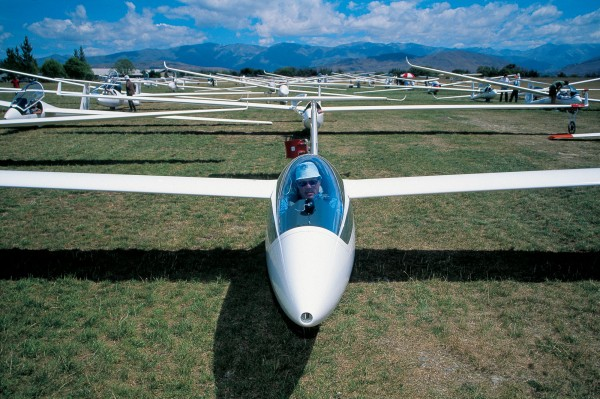 Once a dusty wasteland, the Omarama airfield was transformed in the early 1990s into a modern facility fit to host national and international gliding events. A prime mover behind the upgrade was local pilot Bill Walker, here snug within his cockpit at the 2003 national gliding championships.