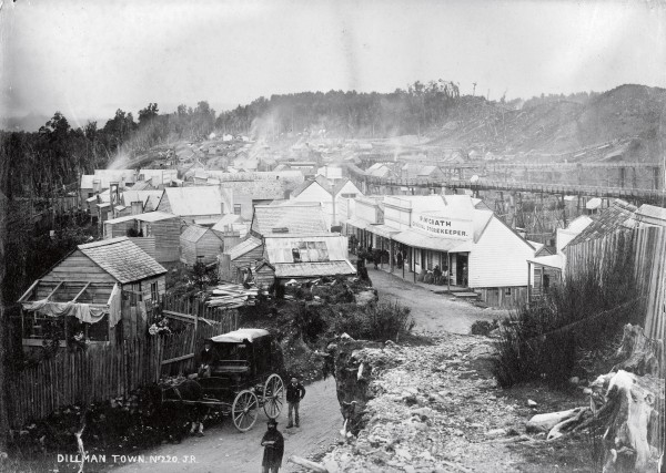 Dillmanstown was a bustling 3000-per- son gold town that sprung up near Kumara on the West Coast in the 1860s. But once the gold was exhausted, the town faded and today only piles of tailings from sluicing indicate the site.
