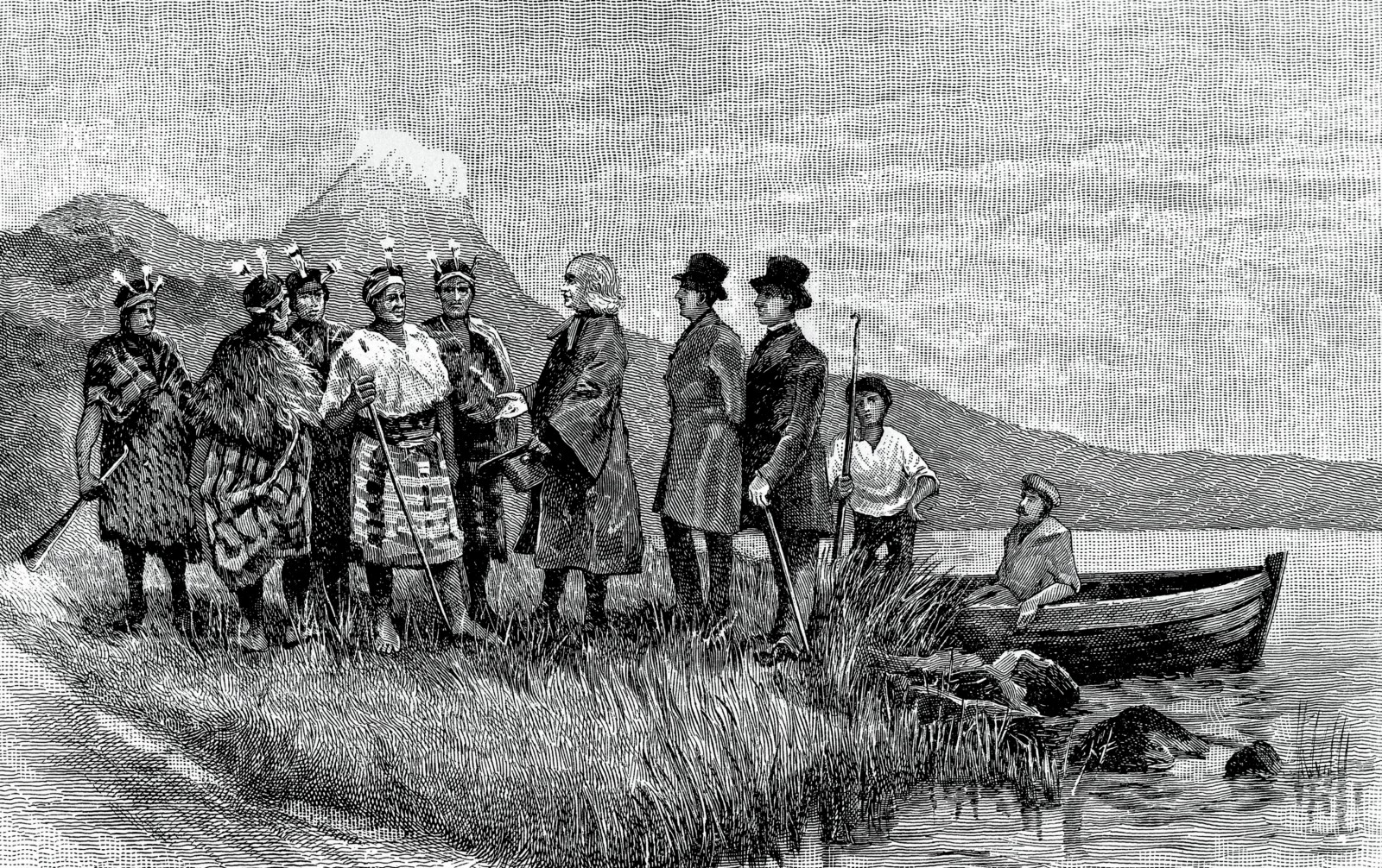 "A fanciful reconstruction of the ""landing of Samuel Marsden at Bay of Islands, December 19, 1814."" Since the party didn't reach the Bay of Islands until the 22nd, this is more likely a depiction of the arrival in Whangaroa, which also fits better with the distinctive hill in the background. Marsden's hatted companions were likely Thomas Kendall and William Hall, would-be settlers to assist with the establishment of a mission, and who had already visited NZ earlier in the year."