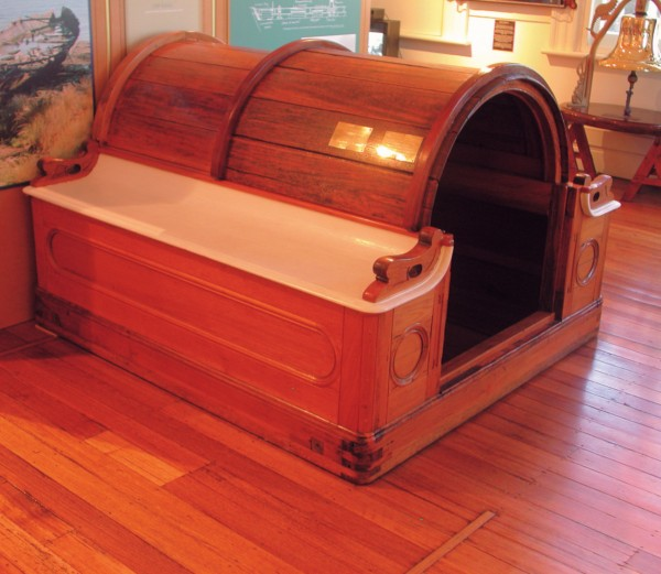 Otago's restored companionway hatch is now in the Maritime Museum of Tasmania.