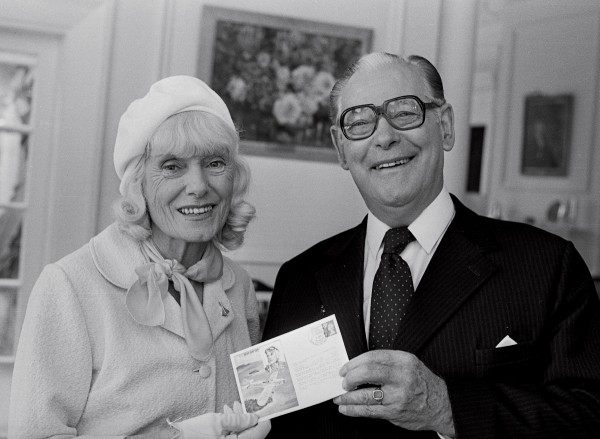 In April 1977, Jean returned to New Zealand to open a pavilion at the Museum of Transport and Technology in Auckland. She is here presenting Governor-General Sir Keith Holyoake with a British first day stamp cover (issued in 1976) marking the 40th anniversary of her flight to New Zealand.