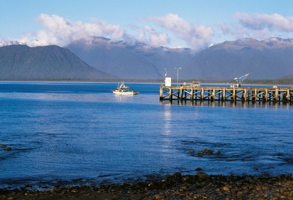 Jackson Bay hosts a small settlement with the only wharf in more than 100 km. A long hooked headland provides the best shelter from the prevailing south-westerly anywhere on the West Coast north of Fiordland.