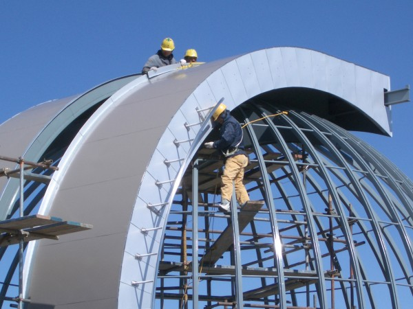 (i) Fitting of the dome.