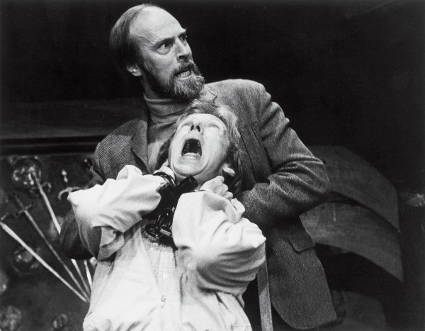 David Vere-Jones and Bruce Phillips enact a strangling in the Downstage play Death Trap.