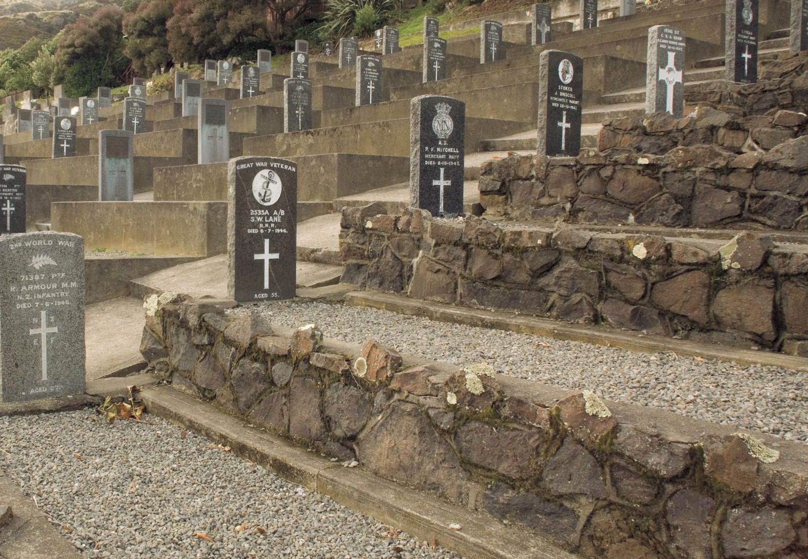 Lyttelton cemetery is the last resting place for many navy personnel. Close as it is to a former prison, it is also the unmarked home to Fredrick William Eggers, sentenced to the gallows in 1918. A further 21 men were hanged in New Zealand prior to abolition of the death penalty in 1961. The last, Walter James Bolton, died in 1957.