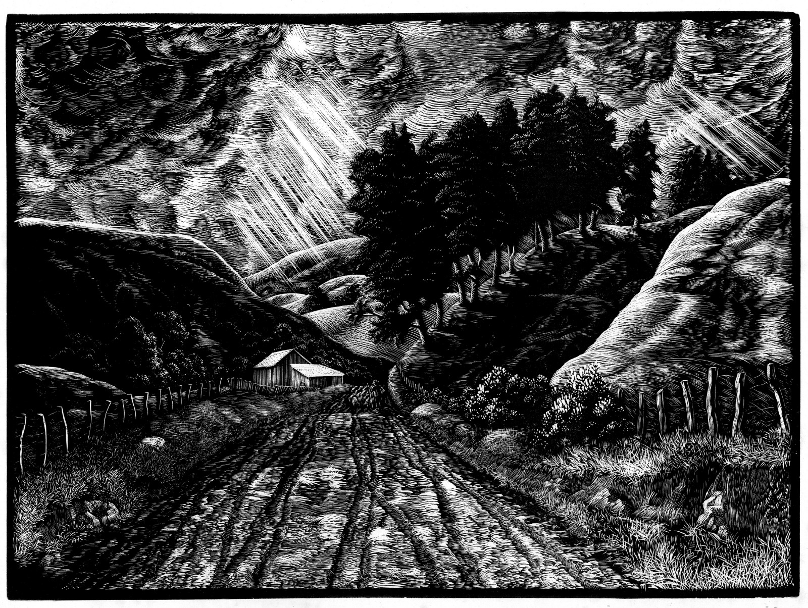 Dark Valley, 1937, was his very first wood engraving, started in printmaking classes at Wellington Technical College. Taylor wasn't happy with the result, and did no further wood engravings for eight years, until he felt he had a greater mastery of perspective and technique.
