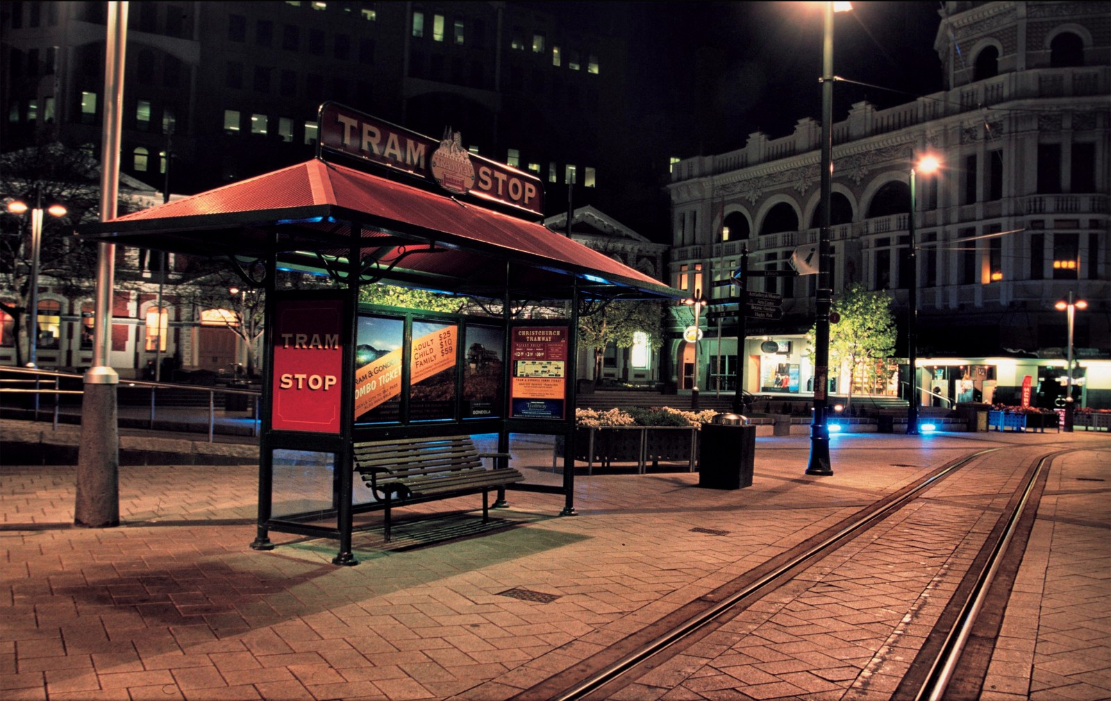The Cathedral Square tram stop after the last tram has departed. Although Christchurch's original tramway ceased to operate in September 1954, the new loop is a major attraction in the city and looks much more likely to expand than stop running.