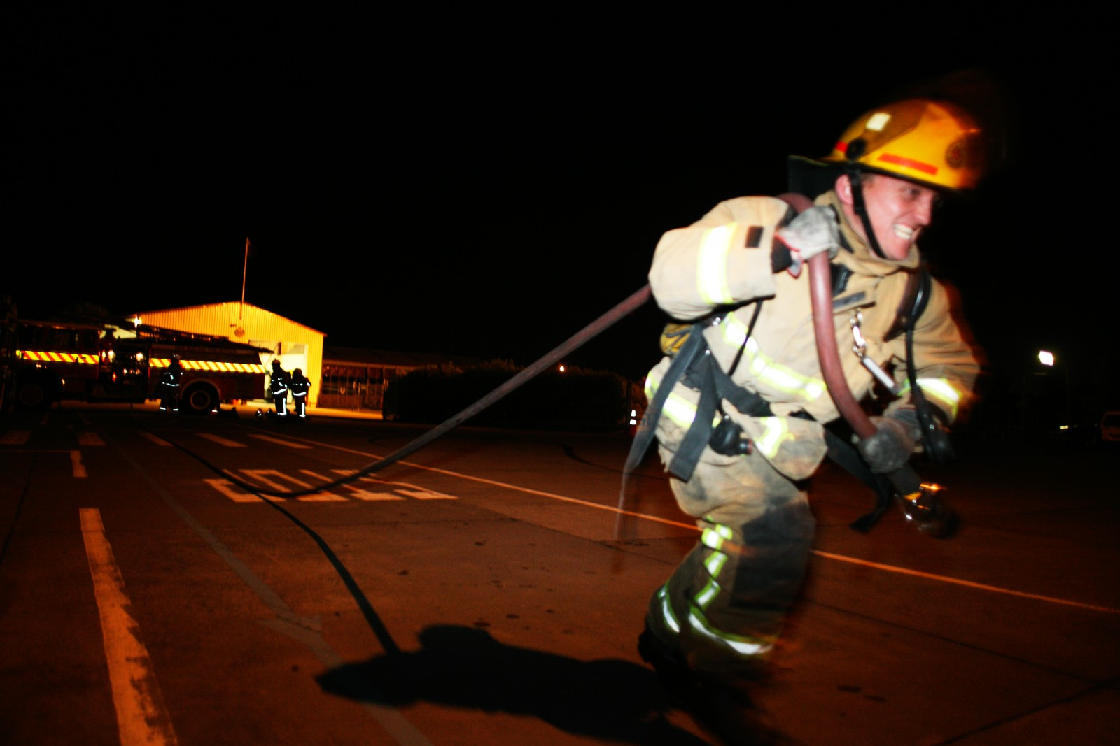 The paradoxical need for speedy response and heavy gear that can survive hostile conditions means that fitness is an important factor in fire rescue. Brigades have regular practice nights where firefighters hone their skills and maintain a state of physical appearances.