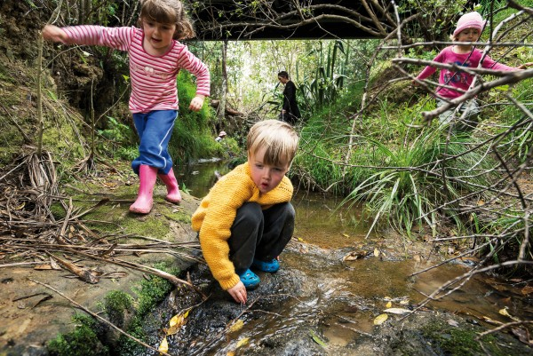 The joy of damming creeks feels like a birthright to many New Zealanders, but outdoor play is increasingly considered to be an endangered pastime—with books such as Last Child in the Woods by Richard Louv exploring the dangers of what he terms 'nature deficit disorder'. Outdoor play groups are being set up in New Zealand to counter this trend, but have always been a component of the Playcentre experience. Ruby, William and Marnie are among children in the 'big kids' group of four-year-olds at Beachlands-Maraetei Playcentre meet weekly, rain or shine, to explore the natural wonderland of Omana Regional Park.