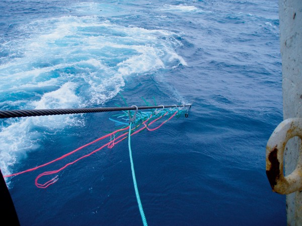 The Carefree Cunning Contraption was designed by Christchurch trawlerman Chris Carey to keep seabirds away from the dangerous trawl wires. The device, which is attached to the trawl warps as the net is being shot, is highly visible to seabirds, even in the midst of a feeding frenzy.