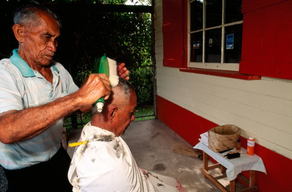 "A client may ask for a ""cut and polish"", he probably isn't expecting a car-wash brush sweeping his crown. But what could be softer asks Rarotonga's open-air barber Miringa Vaevaeongo."