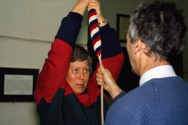 "Judith Bailey literally ""learns the ropes"" from Gerald McIlhone, the most experienced bellringer at Wellington Cathedral. The main challenge in change ringing, apart from the mental effort of remembering hundreds of different ringing sequences, is to get the bell to sound exactly when you want it to. In all bells there is delay between when you pull on the rope and when the clapper strikes the bell."