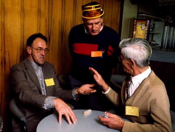 As a rule, the Dutch aren't big on sports... but they are serious card players. At the 1992 Wellington Klaverjas tournament a stormy Dutch argument was sparked when one player forgot to keep score. Geny Wekenborg (standing) tries to mediate between Cris Wissen (left) and Frans Rutten.