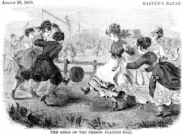 """Women who were not content to be decorative doll-like creatures were dubbed """"The Girl of the Period"""" by Mrs Lynn Linlon, an English novelist who was appalled at the thought of women becoming """"hard and fierce and self-asserting,"""" like men. Although the idea of women playing football was truly shocking, a New Zealand women's rugby team was actually formed in 1891, to considerable condemnation."""