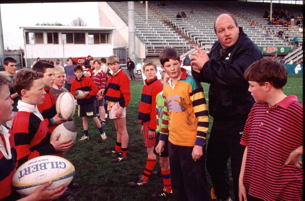 With an attentiveness yet to reach the classroom, Christchurch youngsters lap up instruction from ex-All Black Brent Anderson. Most players are introduced to the game as children.