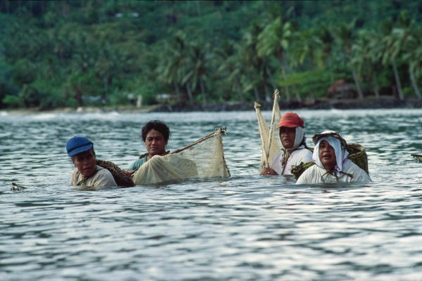 The old economy is strong, too. Women, wading shoulder deep in a lagoon, prepare to corral fish into each other's nets.