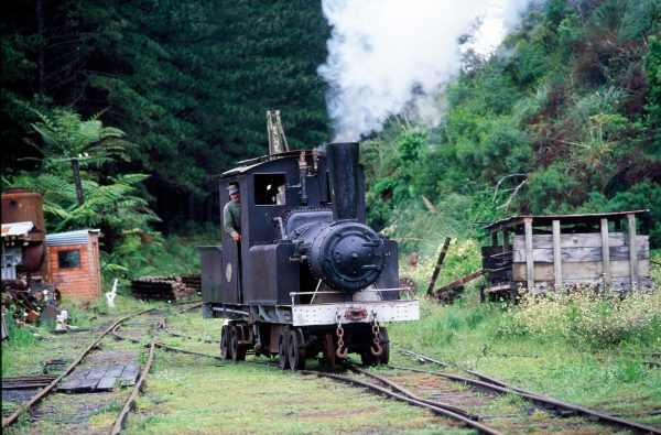 This bush locomotive, Cb No. 117, built in 1927 to haul construction materials from Auckland to the Huia dam site in the Waitakere Ranges, has now been restored and runs on the Pukemiro line, west of Huntly.