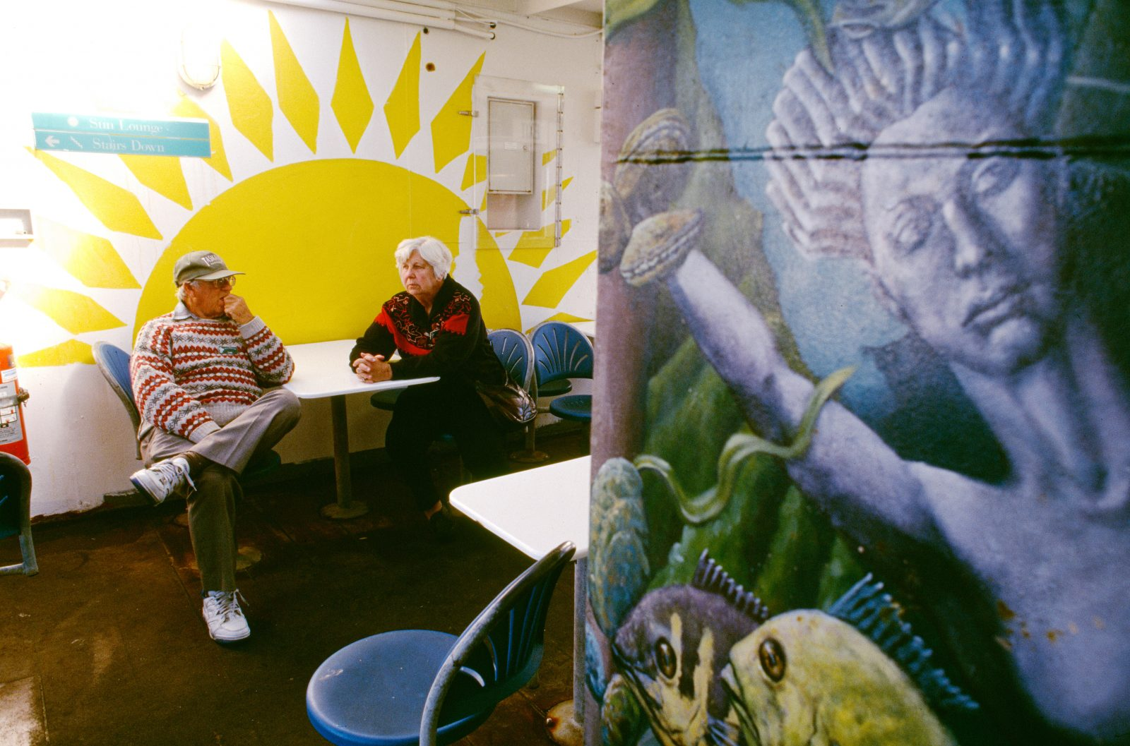 Lest passengers get too cosy in the Sun Lounge of the interisland ferry Aratika, a mural reminds them of the attractions of Davy Jones' locker not far below. More than a million passengers are carried across the Strait each year on the ferries' 5000-plus crossings.