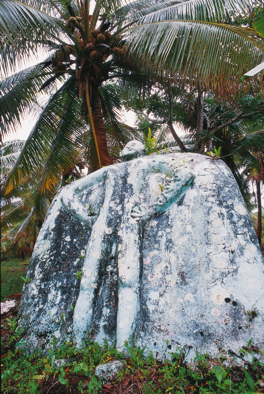 Making a stand on an outcrop of coral limestone, this lifesize figure at mutinous Liku on the east coast might well serve as a symbol of modern Niue, determined to face down the disadvantages of isolation.