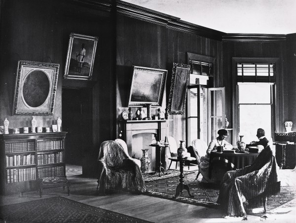 Grey separated from his wife, Eliza, before returning to New Zealand in 1861, and his niece Annie Matthews, seen here in the drawing room with Grey, became his hostess at Mansion House. Annie married the estate manager in this very room in 1872, and their numerous children enlivened Grey's later years. Most of the paintings decorating the walls were purchased by Grey from Christies in 1869.