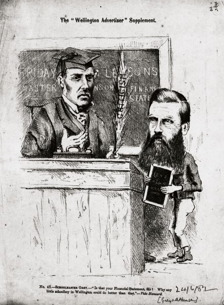 Grey was dismissed from the office of governor in 1867, but later became the member of parliament for Auckland, and served for two years as premier. But he was a backbencher-and a stern critic of government policies-when this cartoon appeared in 1882. Grey was particularly opposed to the lavish borrowing and free spending that was being practised by the colonial treasure Atkinson.