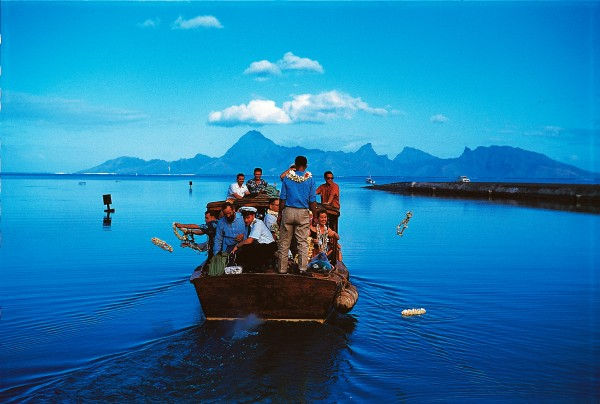 In Tahiti, the quintessential island paradise, departing passengers cast their lies from the launch as it bore them to the sequestered comfort of their cabin.
