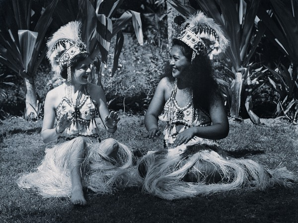 Going native? What will people think? In Tahiti, Coral Route stewardess Jean Stanich aroused the displeasure of TEAL management when she swapped her uniform for something a little more exotic. To market the route, however, TEAL had no compunction about using a naked female figure to embody the romantic allure of the islands.