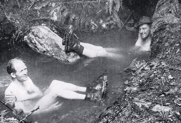 Harold Wellman (left) and geologist George Grindley enjoy an appropriately geological diversion: a soak in a hot spring issuing from the Alpine Fault at Haupiri, about 1950. While many geologists were initially sceptical about Wellman's claims of hundreds of kilometres of horizontal movement along the fault, his work became a stepping stone to the new theory of plate tectonics that informs the way we now view the Earth.