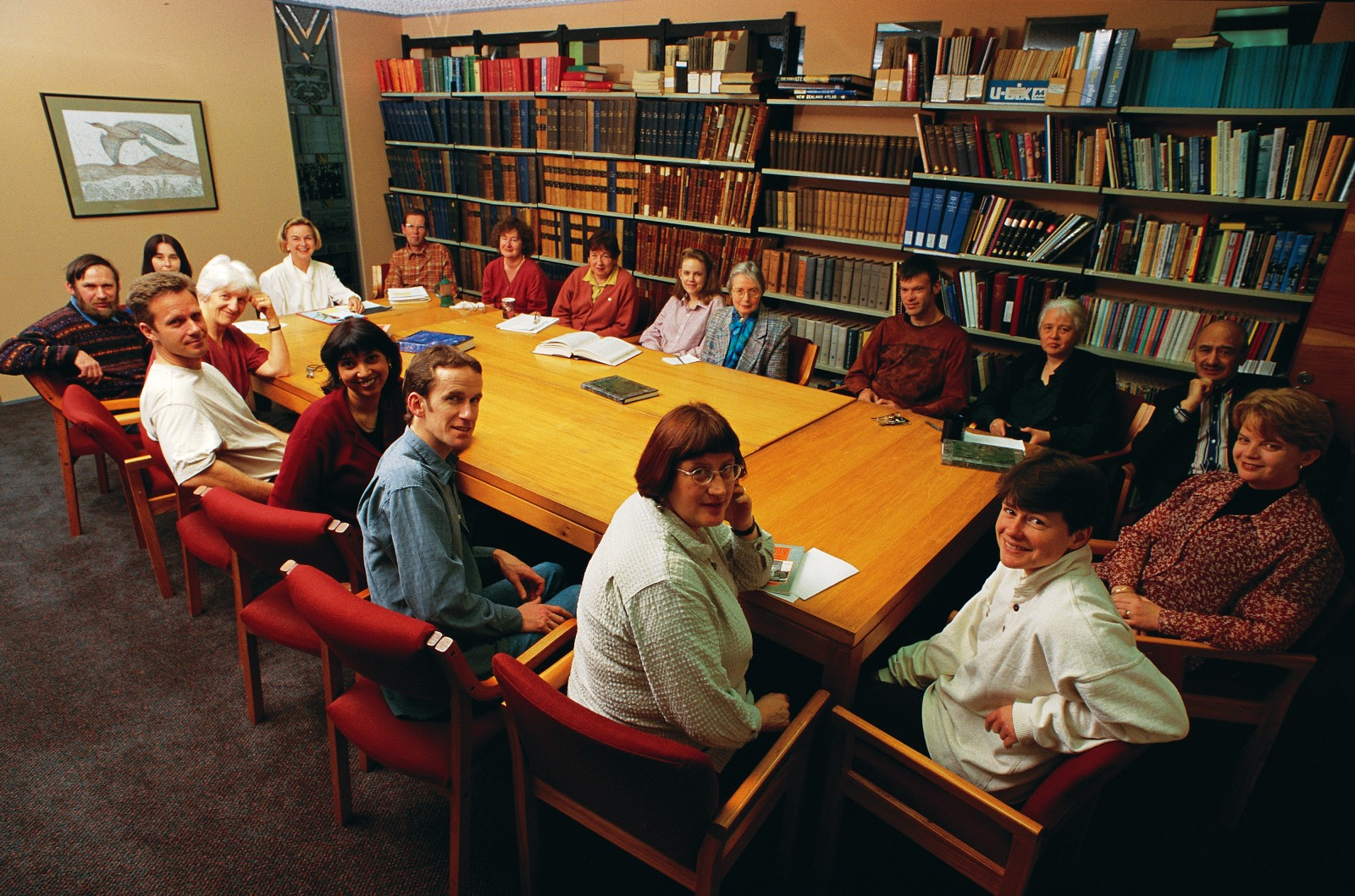 Since work began on the Dictionary of New Zealand Biography in 1983, production of what has become New Zealand's biggest historical project has been a remarkably collective enterprise. Under the leadership of general editor Claudia Orange (at head of table, left), dictionary staff at the Department of Internal Affairs draw on the efforts of more than 1000 writers and researchers across the country.