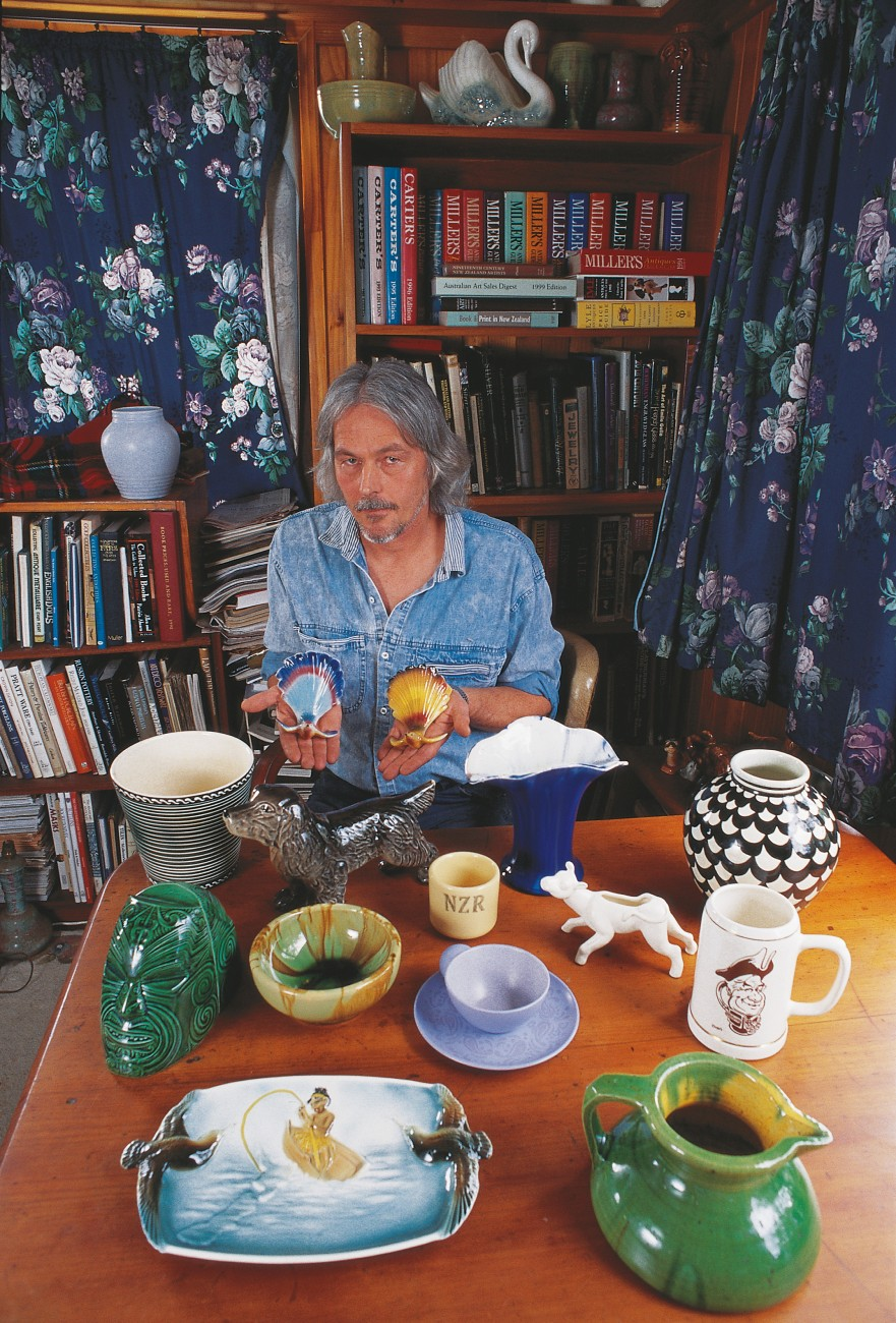 Auckland collector Jim Drummond has filled his home with local china from yesteryear—among his favourites a pair of fantail vases from Titian Studio. The black-and-white vase at right, from Crown Lynn Potteries, is valued at $2000. The tankard caricatures Sir Tom Clark, former boss of Crown Lynn.
