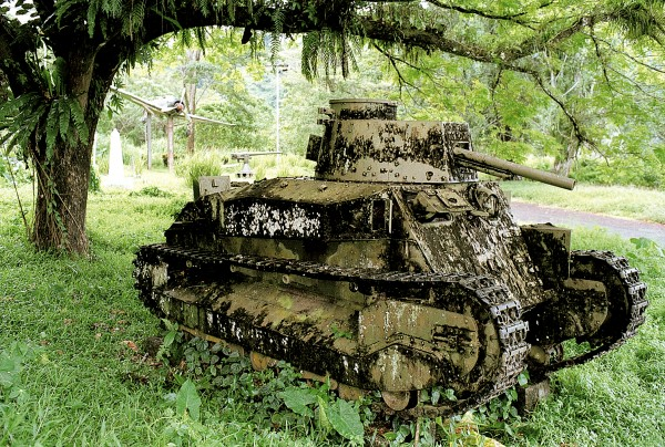 Given the BRA's ingenuity in restoring weaponry, it is a wonder that this tank—and the plane behind it—weren't brought into service during the recent conflict. During World War II, 40,000 Japanese soldiers perished here, more than half from starvation and disease.