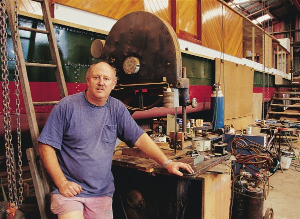 "David McDermid, pictured with the Wairua, also under restoration: ""Wanganui is the home of riverboats. They're part of our heritage. Getting them back on the water is vital for tourism and jobs."""