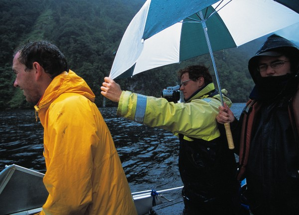 Research takes place regardless of the weather. So much rain falls in Fiordland that tannin-stained fresh water frequently forms a layer several metres deep over the denser salt water. In winter, this layer may freeze, especially in the extensive sheltered upper reaches of the fiord. Captain Cook passed by the entrance to the sound in 1770. Its name is derived from the fact that Cook was doubtful about entering the fiord in case unfavourable winds hindered him from leaving again.