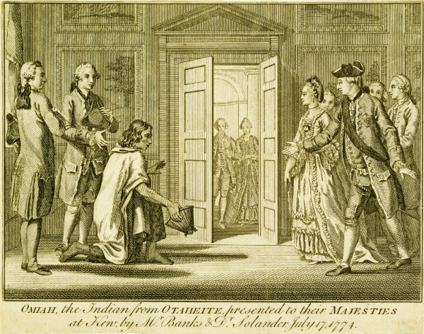 0mai, a Tahitian, was taken back to England on Cook's second voyage, a cultural dislocation as great as any Gulliver experienced all his travels. In this engraving, he is being presented to the king and queen at Kew by Banks and Solander.
