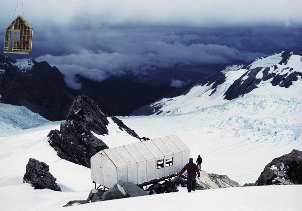 Centennial Hut, Franz Josef Glacier, nearing completion with help from aloft.