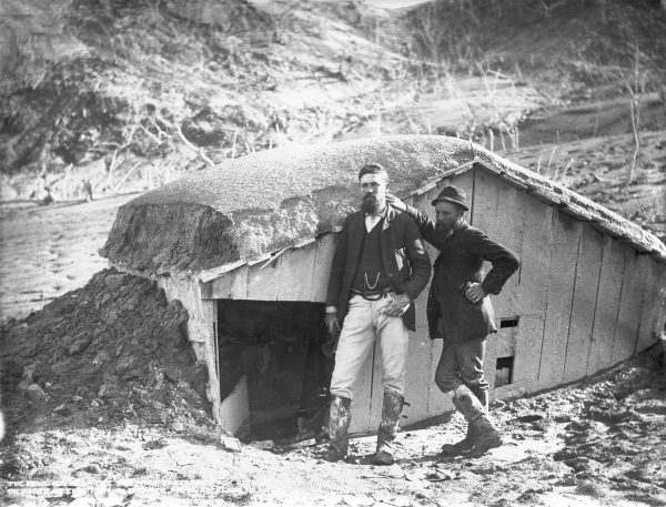Two surveyors, Harry Lundius (left) and John Blythe, survived the eruption by sheltering in a hen-house after escaping from the nearby Te Wairoa schoolhouse when the roof fell in. Five members of a single family perished in the collapsed building.